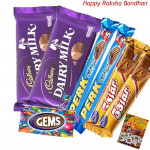 Simply Chocolaty - 2 Perk, 2 Five Star, Gems, 2 Dairy Milk (Rakhi & Tika NOT Included)