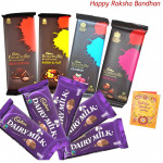Treat of Chocolates - 4 Bournville, 5 Dairy Milk (Rakhi & Tika NOT Included)