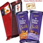 Cadbury Bars - 2 Temptations, 2 Cadbury Dairy Milk Silk (Rakhi & Tika NOT Included)
