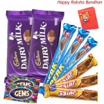 Choco Delight - 2 Dairy Milk, 3 Perk, 3 Five Star, 2 Gems (Rakhi & Tika NOT Included)