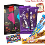 Chocolate Gifts - 2 Bournville, 2 Cadbury Dairy Milk (L), 2 Perk, 2 Five Star, Gems (Rakhi & Tika NOT Included)
