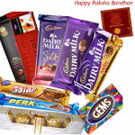 Jumbo Treat - Ferrero Rocher 4 pcs, Temptations, Bournville, Perk, 5 Star, Dairy Milk (L), Dairy Milk Fruit n Nut, Dairy Milk Crackle, Gems (Rakhi & Tika NOT Included)