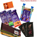 Chocolate Time - 3 Cadbury Dairy Milk Silk, 3 Cadbury Bournville, 3 Temptations, 5 Assorted Bars (Rakhi & Tika NOT Included)