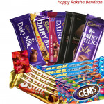 20 Assorted Cadbury Chocolates (Rakhi & Tika NOT Included)