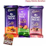 Silk Hamper - Cadbury Dairy Milk Silk Fruit & Nut, Cadbury Dairy Milk Silk Chocolate, Cadbury Dairy Milk Silk Roast Almond (Rakhi & Tika NOT Included)