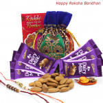 Kaju Chocolaty - Almonds 100 gms in Potli (D), 6 Dairy Milk with 2 Rakhi and Roli-Chawal