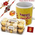 Golden Mug Combo - Ferrero Rocher 16 Pcs, Happy Rakshabandhan Mug with 2 Rakhi and Roli-Chawal