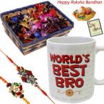 Handmade Choco Combo - Handmade chocolates in Basket, World's Best Bro Mug with 2 Rakhi and Roli-Chawal