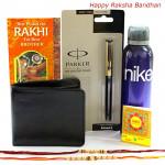 Rakhi Gift - 1 Nike Deo, 1 Parker Beta Standard Ball Pen, Leather Black Wallet with 2 Rakhi and Roli-Chawal