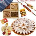 Foodie's Delight - Ganesha idol, Assorted Dry Fruits Box, Kaju Katli with 2 Rakhi and Roli-Chawal