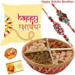 Soft Nutty - Happy Rakshabandhan Cushion, Assorted Dryfruits Basket with 2 Rakhi and Roli-Chawal