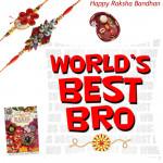 Bro's Delight - World's Best Bro Cushion with 2 Rakhi and Roli-Chawal
