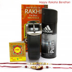 Accesorize - Adidas Deo, Leather Black Belt with 2 Rakhi and Roli-Chawal