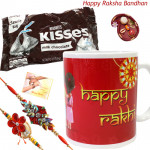 Rakhi Special - Happy Rakhi Mug, Hersheys nuggets - Milk Chocolates 340 gms with 2 Rakhi and Roli-Chawal