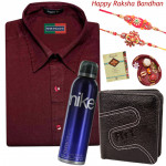 Formals for Brother - Peter England Full Sleeve Maroon formal shirt (Choose Size), Leather Balck Wallet, Nike Deo with 2 Rakhi and Roli-Chawal