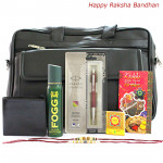 For My Brother - Black Office Bag, Fogg Deo, Leather Black Wallet, Parker Vector Standard Ball Pen with 2 Rakhi and Roli-Chawal