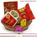 Treat for Brother - Happy Rakhi Mug, Soan Papdi, Basket with 2 Rakhi and Roli-Chawal