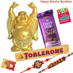 All the Gifts - Laughing Buddha, Dairy Milk Silk, Toblerone  with 2 Rakhi and Roli-Chawal