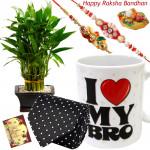 Luck & Delight - 3 Layer Lucky Bamboo, I Love My Bro Mug, Black Tie with 2 Rakhi and Roli-Chawal