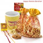 Nut N Mug - Kaju 100 gms in Potli and Badam 100 gms in Potli, Happy Rakshabandhan Mug with 2 Rakhi and Roli-Chawal