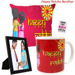 Moments of Love - Happy Rakhi Cushion, Photo Frame, Happy Rakhi mug