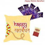 Tender Choco - Happy Rakshabandhan Cushion and 5 Dairy Milk