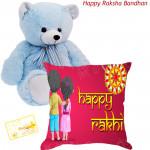 Tender Cushion - Happy Rakhi Cushion, Teddy 8 inch