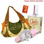 Time for Style - Titan Watch, Revlon Charli Red Perfume, Fashionable Ladies Handbag