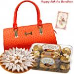 Obvious Liking - Design Ladies Handbag, Ferrero Rocher 16 Pcs, Kaju Katli 250 gms