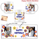 Customized White Mug - Two Pictures (Rakhi & Tika NOT Included)