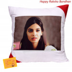 Cushion with Photo (Rakhi & Tika NOT Included)
