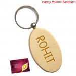 Oval Wooden KeyChain (Rakhi & Tika NOT Included)