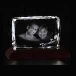Rectangular 3D Crystal with LED Light Base (Rakhi & Tika NOT Included)