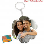 Flower Shaped Acrylic Photo Keychain (Rakhi & Tika NOT Included)
