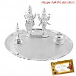 Ideal Divinity - Puja Thali 50 gms, Silver Lakshmi Narayan Idol 25 gms, Bell 30 gms, Kumkum Dabbi 20 gms