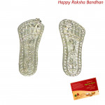 Auspicious Silver Laxmi Steps - 6 grams (Rakhi & Tika NOT Included)