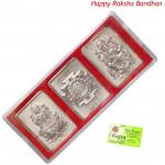 Silver Laxmi Ganesha Yantra - 3 Grams (Rakhi & Tika NOT Included)