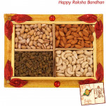 Floral Dryfruit Tray - Assorted Dry fruits 400 gms in Tray (Rakhi & Tika NOT Included)