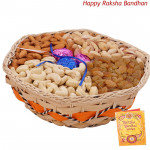 Dryfruit Choco Basket - Assorted Dryfruits in Basket with Handmade Chocolates 1 Kg (Rakhi & Tika NOT Included)