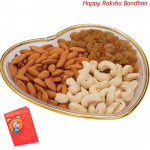 Wonderful Gift Tray - Assorted Dryfruits 300 gms in a Decorative Tray (Rakhi & Tika NOT Included)
