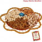 Dryfruits in Designer Tray - Assorted Dryfruits in Designer Tray with a Handmade Chocolate 500 gms (Rakhi & Tika NOT Included)