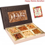 Overwhelming Gift - 1 Kg Assorted Dryfruits (6 items) in Decorative Box (Rakhi & Tika NOT Included)
