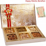 Adorning Dryfruit Box - Assorted Dry fruits 400 grams (6 items) in Decorative Box (Rakhi & Tika NOT Included)