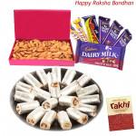 Wonderful Hamper - Kaju Pista Roll, Almonds Box, Assorted Cadbury Hamper (Rakhi & Tika NOT Included)