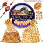 Munchy Hamper - Danish Butter Cookies 454gms, Cashewnuts 100gms in potli, Almonds 100gms in potli with 2 Rakhi and Roli-Chawal