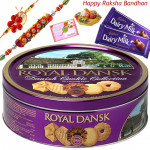 Sweet Hamper - Danish Butter Cookies 454gms with 2 Rakhi and Roli-Chawal