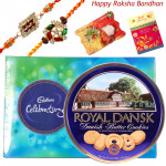 Cookie Celebration - Danish Butter Cookies 454gms, Celebrations with 2 Rakhi and Roli-Chawal