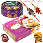 Yummy Hamper - Danish Butter Cookies 454gms, Soan Papdi with 2 Rakhi and Roli-Chawal