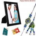 Dear Bhaiya Bhabhi - Photo Frame with Bhaiya Bhabhi Rakhi Pair and Roli-Chawal