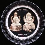 Silver Laxmi Ganesha Round Frame with Stand